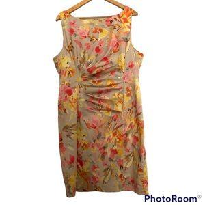 ANNE KLEIN Stretch pastel Floral sleeveless dress